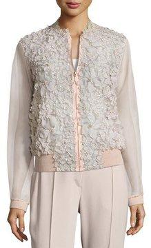Elie Tahari Suri Floral Silk Organza Bomber Jacket, Pink