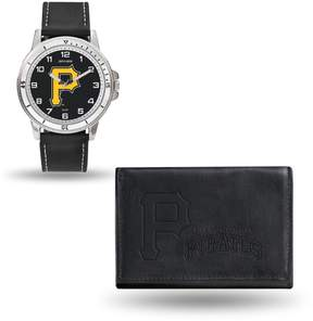 Rico MLB Team Logo Watch and Wallet Combo Gift Set in Black - Pirates