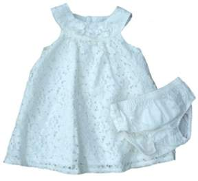 Carter's Infant Girls Ivory Lacy Flower Dress & Diaper Cover Panty 2 PC Set 3m