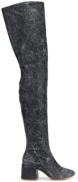 MM6 MAISON MARGIELA cracked effect thigh high boots