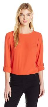 Nine West Roll-Tab Blouse Shirt