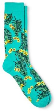 Merona Men's Novelty Crew Socks Hibiscus Blue 10-13