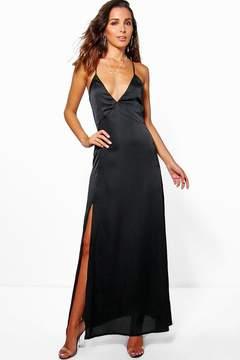 boohoo Perrie Satin Strappy Seam Detail Slip Dress