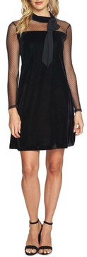 CeCe Women's Mixed Media Velvet Dress