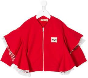 No.21 Kids ruffled detail zip jacket