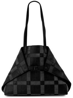 Akris Ai Medium Soft Shoulder Square Pattern Leather Tote