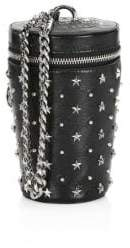 Balmain Mini Studded Leather Bucket Crossbody Bag