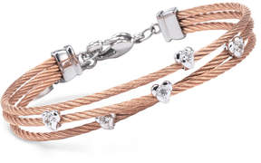 Charriol Women's Malia White Topaz-Accent Two-Tone Pvd Stainless Steel Cable Bangle Bracelet