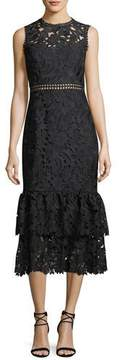 Shoshanna Dominick Lace Two-Tier Midi Cocktail Dress