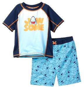 Trunks Baby Buns Jawsome Shark Rashguard & Swim Trunk Set (Little Boys)