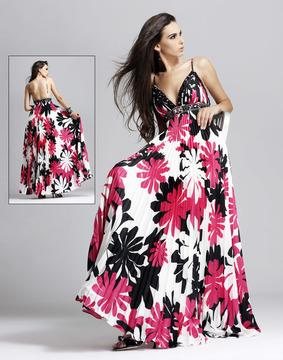 Blush Lingerie 9034 Floral Print Accordion Gown