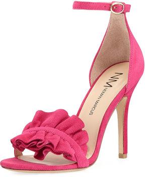 Neiman Marcus Alvarita Suede Ruffle Pump, Pink