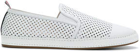 Thom Browne Espadrille With Leather Trim & Rubber Sole In Perforated Calf Leather
