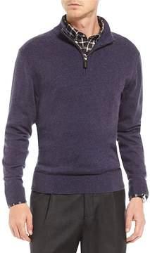 Daniel Cremieux Signature Solid Full-Zip Mock Neck Sweater