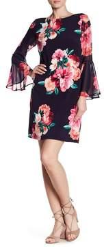 Eliza J 3/4 Length Bell Sleeve Floral Shift Dress