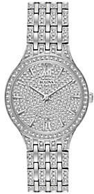 Bulova Women's Stainless Crystal Watch with Round Pave Dial