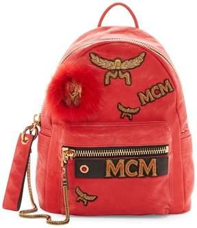 MCM Stark Leather & Genuine Lamb Fur Insignia Backpack