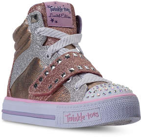 Skechers Little Girls' Twinkle Toes: Shuffles - Miss Metallic Light-Up High Top Casual Sneakers from Finish Line