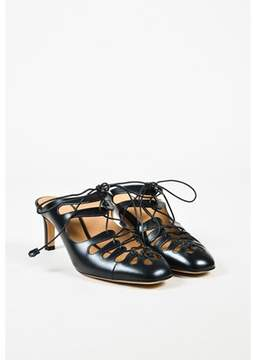 The Row Black Leather dixie Lace Up Mules.
