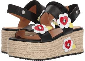 Love Moschino Leather Platform Sandal w/ Flowers Women's Wedge Shoes