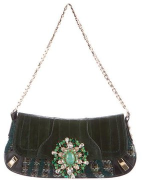 Dolce & Gabbana Tweed & Eel Skin Evening Bag - GREEN - STYLE