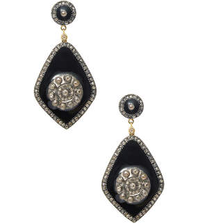 Artisan Women's 18K Gold Chic Diamonds & Enamel Earring