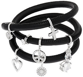 Diamonique As Is Charm Leather Wrap Bracelet, Sterling