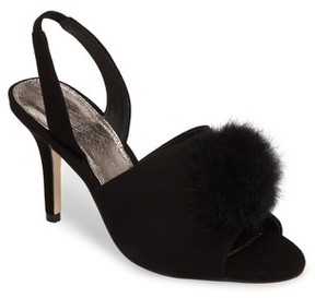 Adrianna Papell Women's Alecia Genuine Rabbit Fur Pompom Sandal