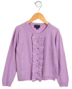 Oscar de la Renta Girls' Ruffled Wool Cardigan