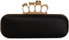 Alexander McQueen Black Satin Long Knuckle Box Clutch