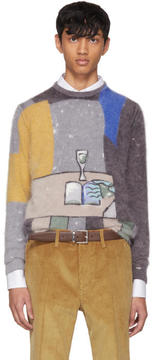 Prada Grey Angora Book Print Sweater