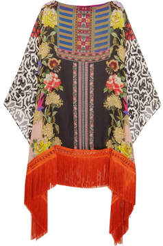 Etro Fringed Printed Silk-georgette Poncho - Orange