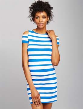 Pietro Brunelli Pea Collection Cold Shoulder Striped Maternity Dress