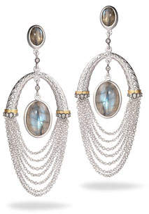 Coomi Spring Labradorite Chain Drop Earrings with Diamonds