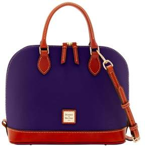 Dooney & Bourke Pebble Grain Zip Zip Satchel - PLUM - STYLE