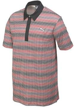 Puma Men's GoTime Check Stripe Golf Polo Shirt Black S