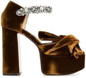 No.21 abstract bow embellished platform sandals