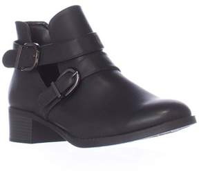 Easy Street Shoes Badge Low Cut Ankle Boots, Black Burnish.