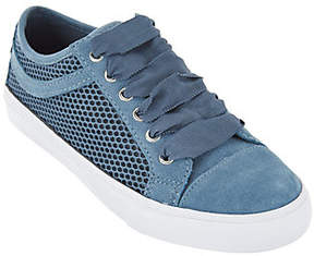 Isaac Mizrahi Live! SOHO Suede Lace-up Sneakersw/ Mesh Detail