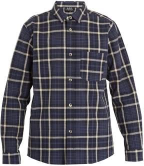 A.P.C. Felix checked cotton and linen-blend overshirt