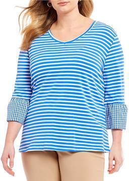 Westbound Plus Size V-Neck Mix Media Bell Sleeve Top
