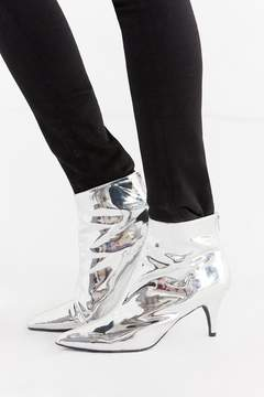 Urban Outfitters Remi Silver Kitten Heel Ankle Boot