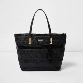 River Island Womens Black woven stripe beach tote bag