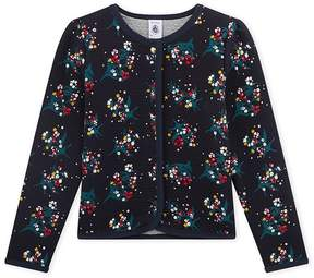 Petit Bateau Girl's quilted double knit cardigan in a floral print