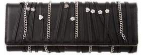 Balmain Leather Zip-Accented Clutch