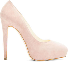 Brian Atwood Nude Suede Platform Obsession Pumps