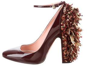 Rochas Patent Leather Beaded Pumps