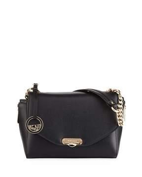Versace Medium Saffiano Leather Shoulder Bag, Black