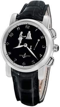 Ulysse Nardin Hourstriker Black Dial Platinum Black Leather Men's Watch 6109-103-E2