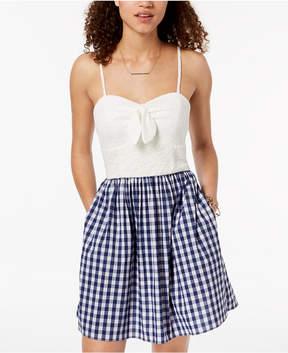 BCX Juniors' Lace & Gingham Fit & Flare Dress